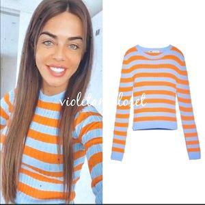 Zara striped knit sweater orange blue NWT small